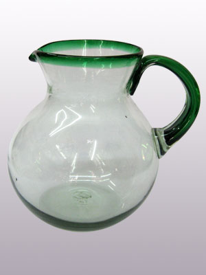 Wholesale MEXICAN GLASSWARE / 'Emerald Green Rim' blown glass pitcher / This classic pitcher is perfect for pouring out all kinds of refreshing drinks.